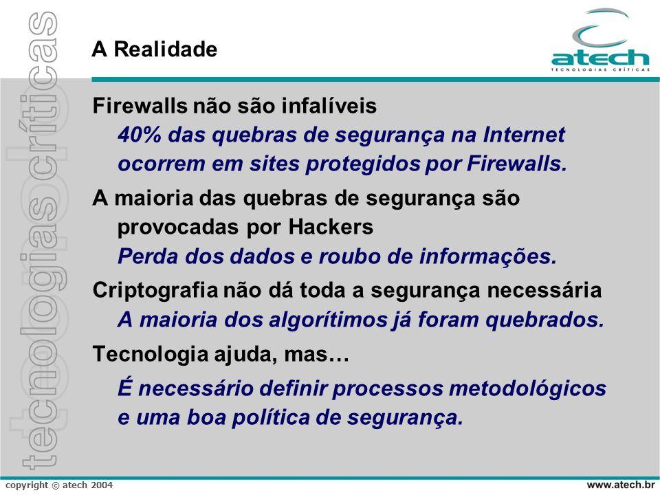 copyright © atech 2004 A Realidade Firewalls não são infalíveis 40% das quebras de segurança na Internet ocorrem em sites protegidos por Firewalls.