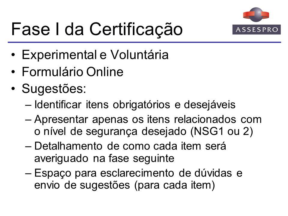 Fase I da Certificação Experimental e Voluntária Formulário Online Sugestões: –Identificar itens obrigatórios e desejáveis –Apresentar apenas os itens