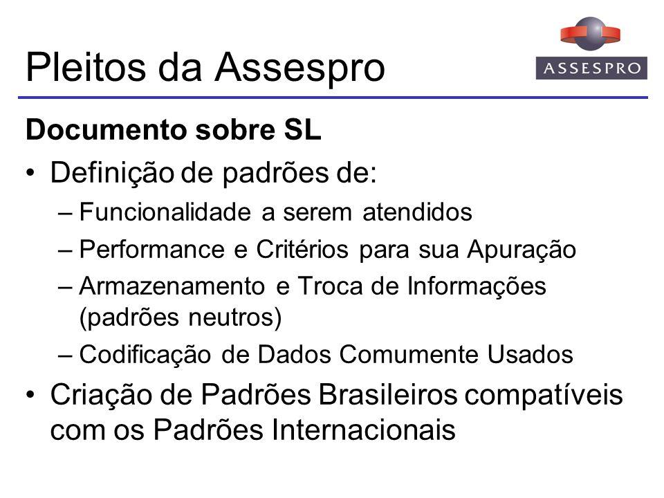Pleitos da Assespro Documento sobre SL Definição de padrões de: –Funcionalidade a serem atendidos –Performance e Critérios para sua Apuração –Armazena