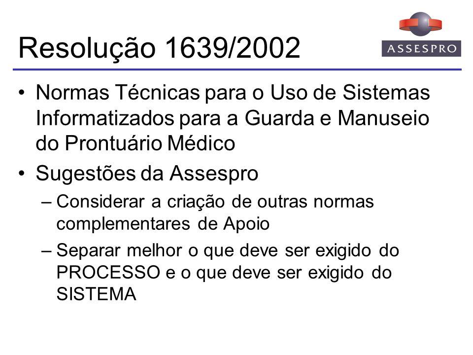 Resolução 1639/2002 Normas Técnicas para o Uso de Sistemas Informatizados para a Guarda e Manuseio do Prontuário Médico Sugestões da Assespro –Conside