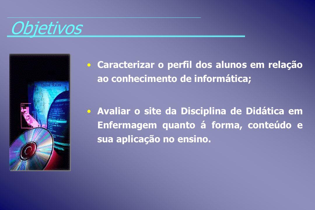 Caracterizar o perfil dos alunos em relação ao conhecimento de informática; Avaliar o site da Disciplina de Didática em Enfermagem quanto á forma, con