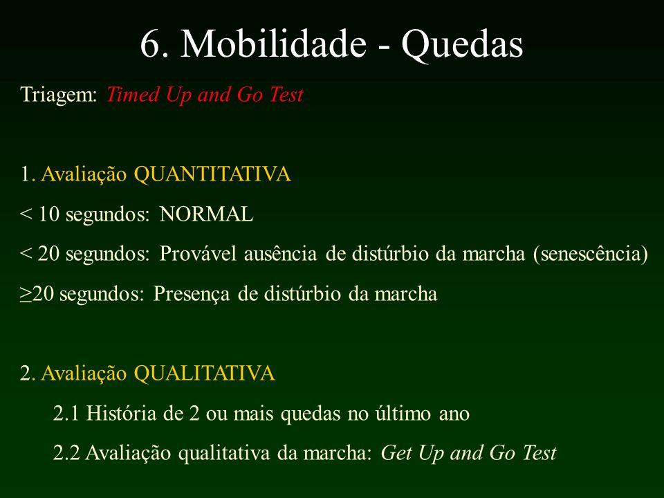6.Mobilidade - Quedas Triagem: Timed Up and Go Test 1.