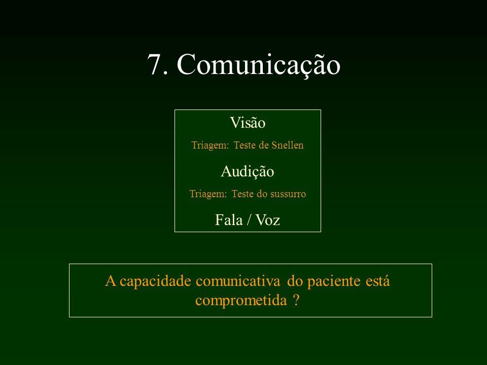 7. Comunicação Visão Triagem: Teste de Snellen Audição Triagem: Teste do sussurro Fala / Voz A capacidade comunicativa do paciente está comprometida ?