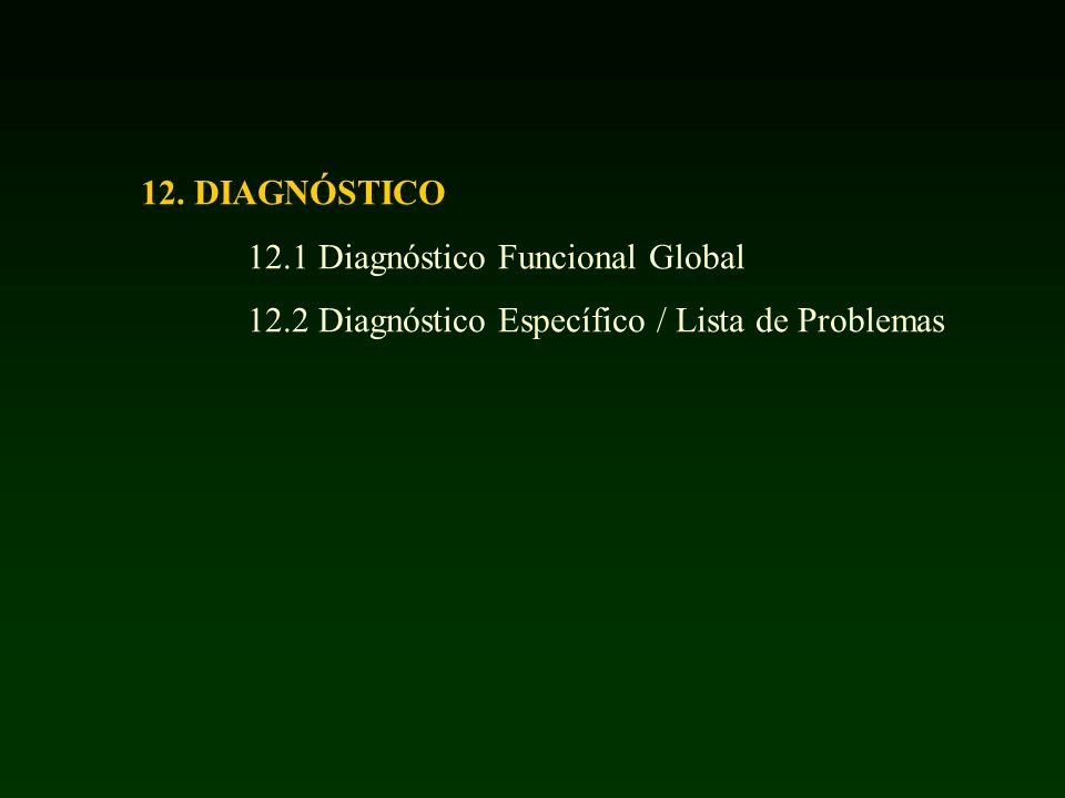 12. DIAGNÓSTICO 12.1 Diagnóstico Funcional Global 12.2 Diagnóstico Específico / Lista de Problemas