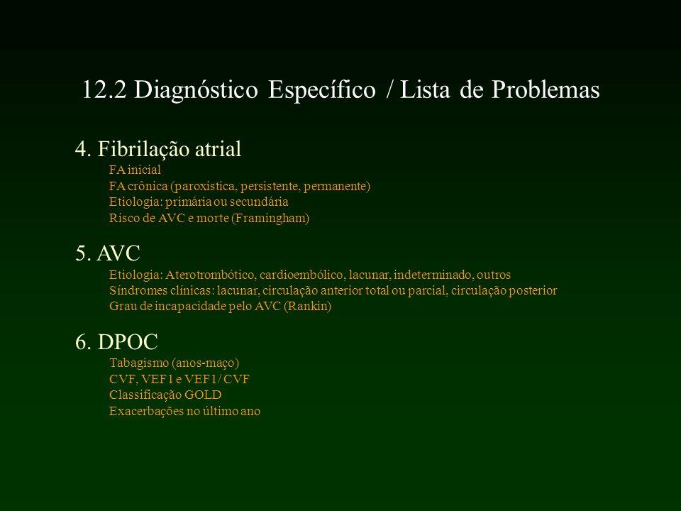 4. Fibrilação atrial FA inicial FA crônica (paroxistica, persistente, permanente) Etiologia: primária ou secundária Risco de AVC e morte (Framingham)
