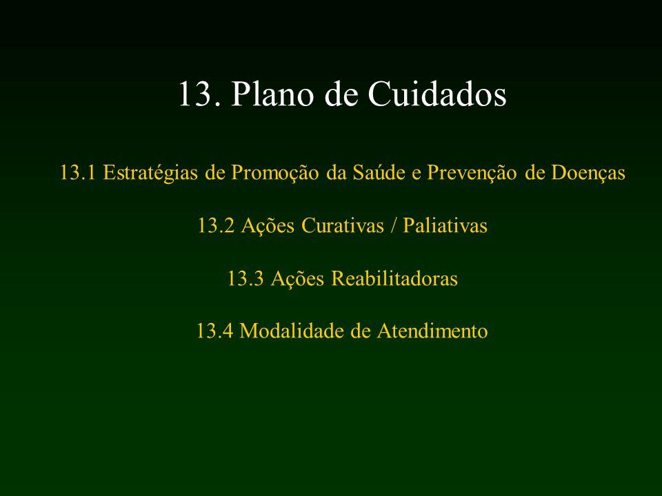 13. Plano de Cuidados 13.1 Estratégias de Promoção da Saúde e Prevenção de Doenças 13.2 Ações Curativas / Paliativas 13.3 Ações Reabilitadoras 13.4 Mo