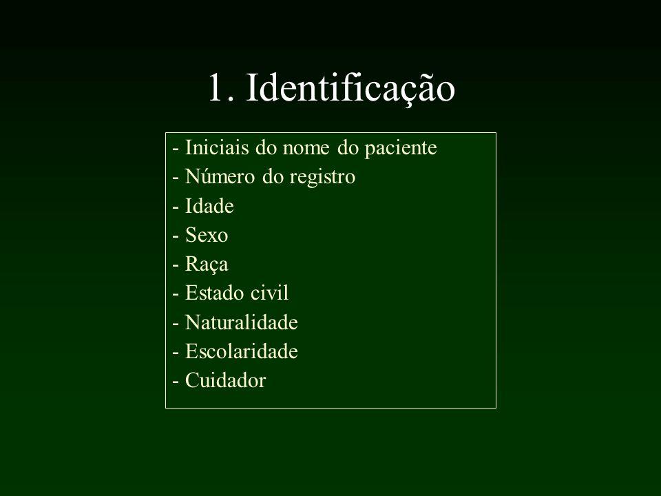 1. Identificação - Iniciais do nome do paciente - Número do registro - Idade - Sexo - Raça - Estado civil - Naturalidade - Escolaridade - Cuidador