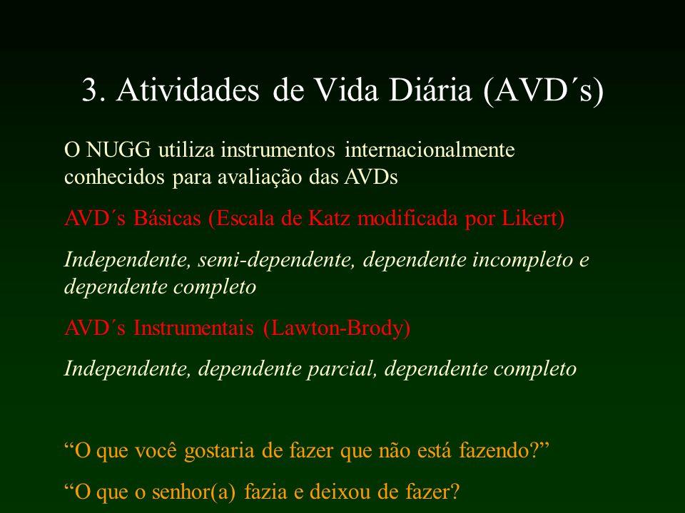 3. Atividades de Vida Diária (AVD´s) O NUGG utiliza instrumentos internacionalmente conhecidos para avaliação das AVDs AVD´s Básicas (Escala de Katz m