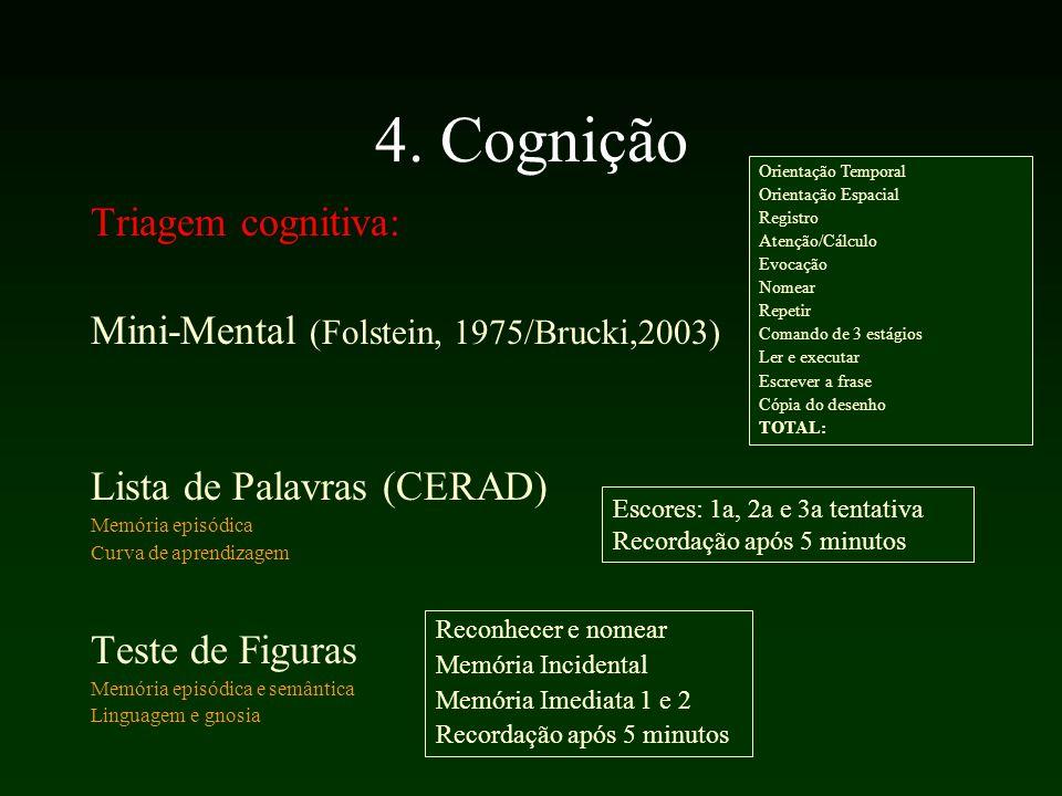 4. Cognição Triagem cognitiva: Mini-Mental (Folstein, 1975/Brucki,2003) Lista de Palavras (CERAD) Memória episódica Curva de aprendizagem Teste de Fig