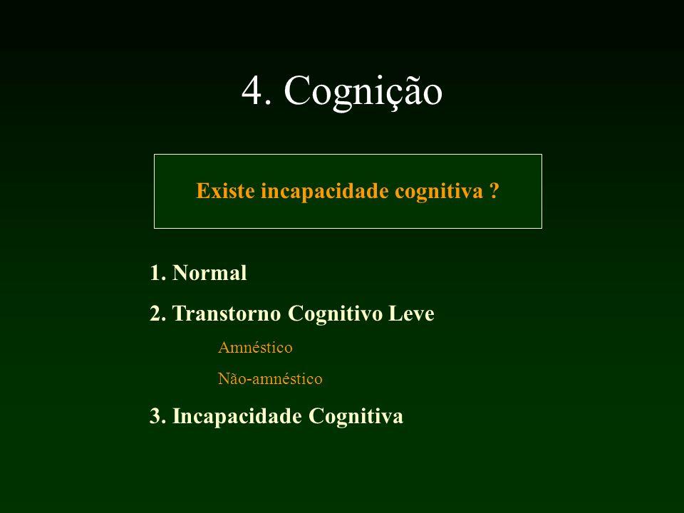4.Cognição Existe incapacidade cognitiva . 1. Normal 2.