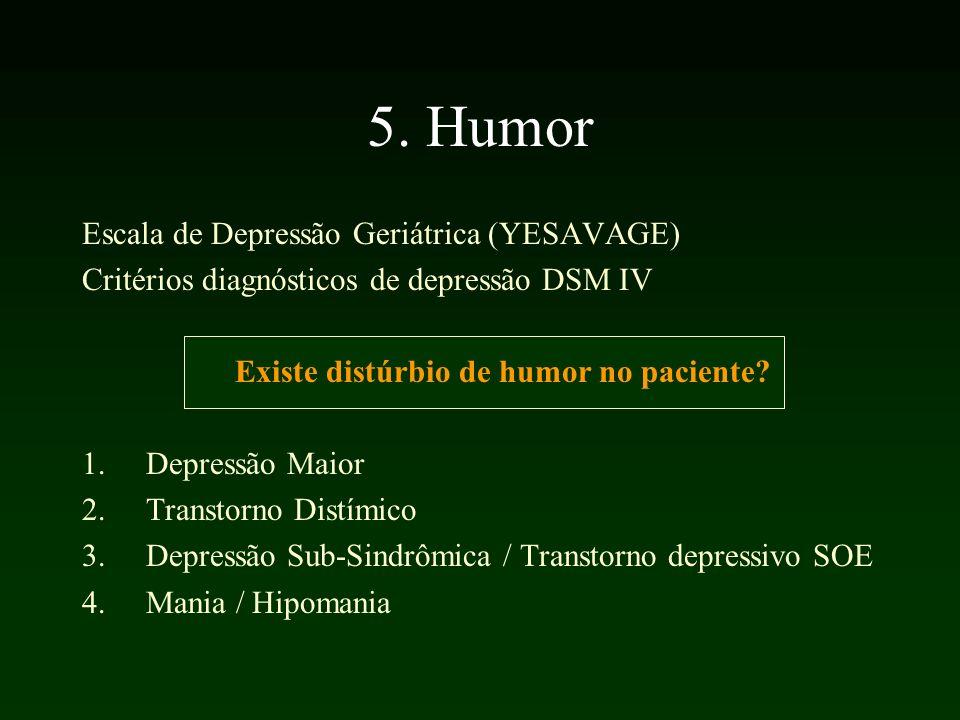5. Humor Escala de Depressão Geriátrica (YESAVAGE) Critérios diagnósticos de depressão DSM IV Existe distúrbio de humor no paciente? 1.Depressão Maior