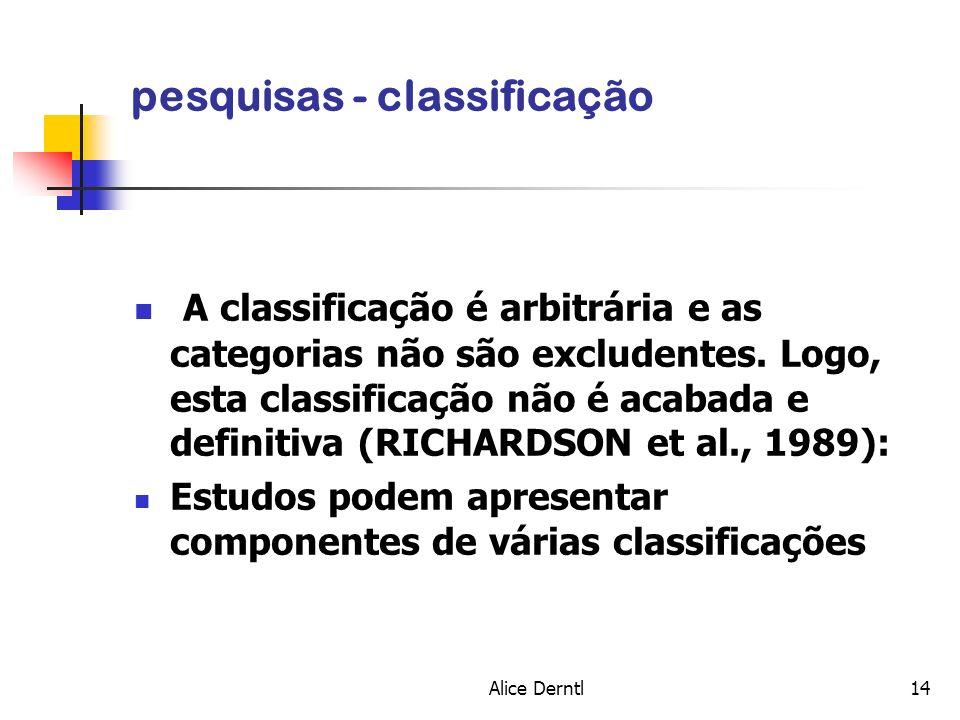 Alice Derntl14 pesquisas - classificação A classificação é arbitrária e as categorias não são excludentes. Logo, esta classificação não é acabada e de