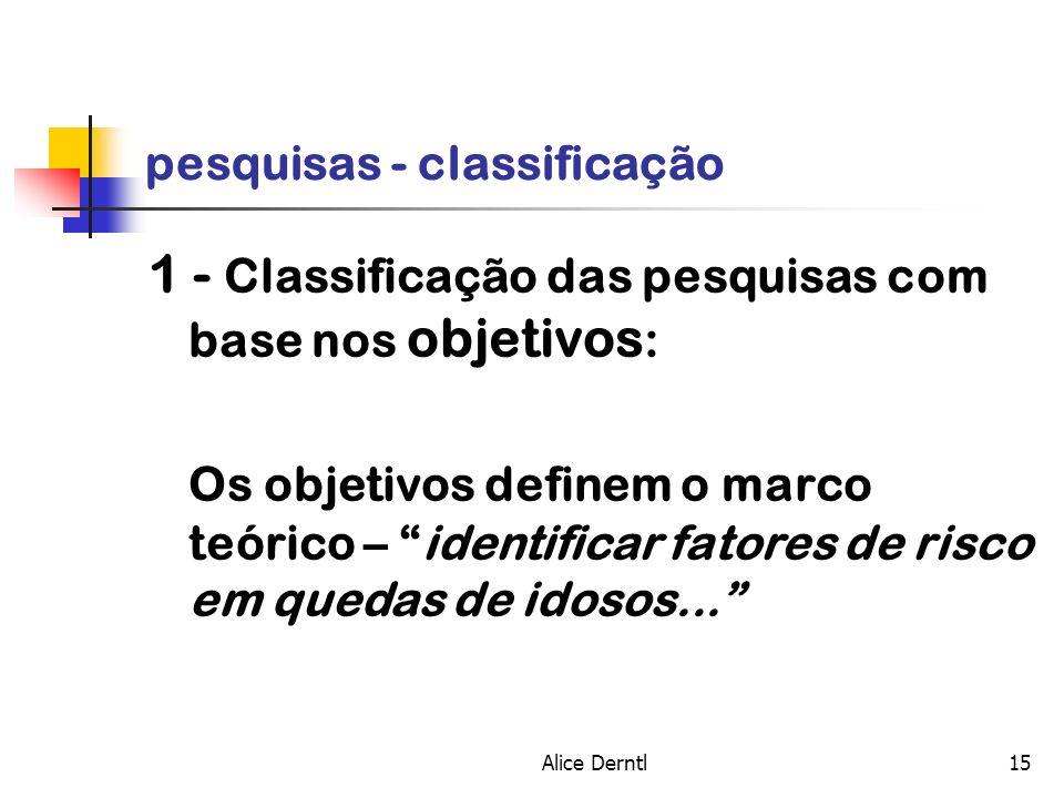 Alice Derntl15 pesquisas - classificação 1 - Classificação das pesquisas com base nos objetivos : Os objetivos definem o marco teórico – identificar f