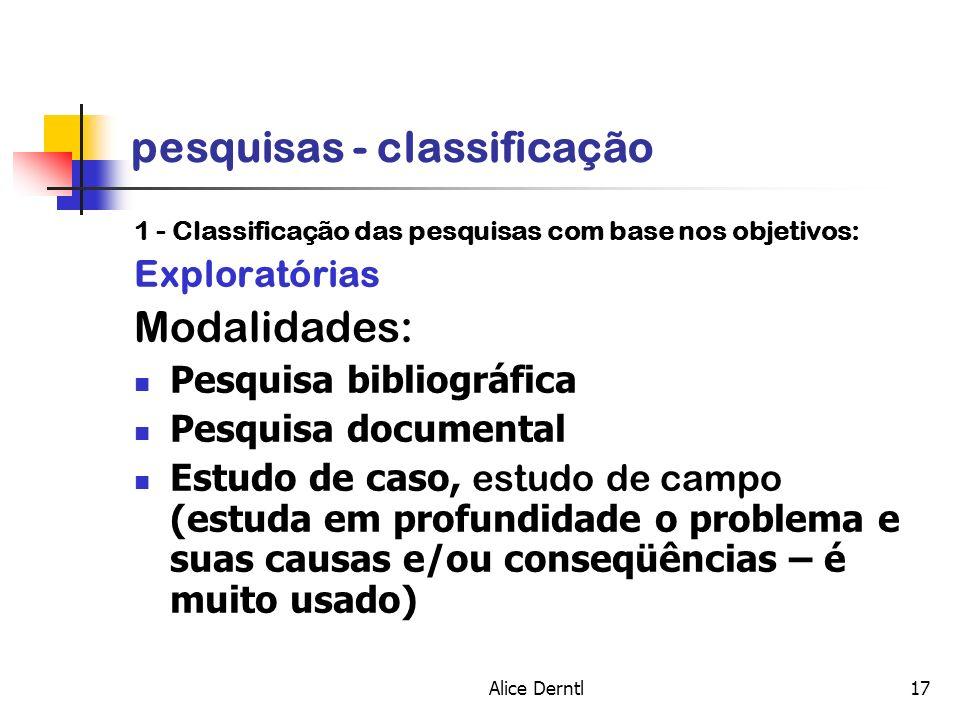 Alice Derntl17 pesquisas - classificação 1 - Classificação das pesquisas com base nos objetivos: Exploratórias Modalidades: Pesquisa bibliográfica Pes