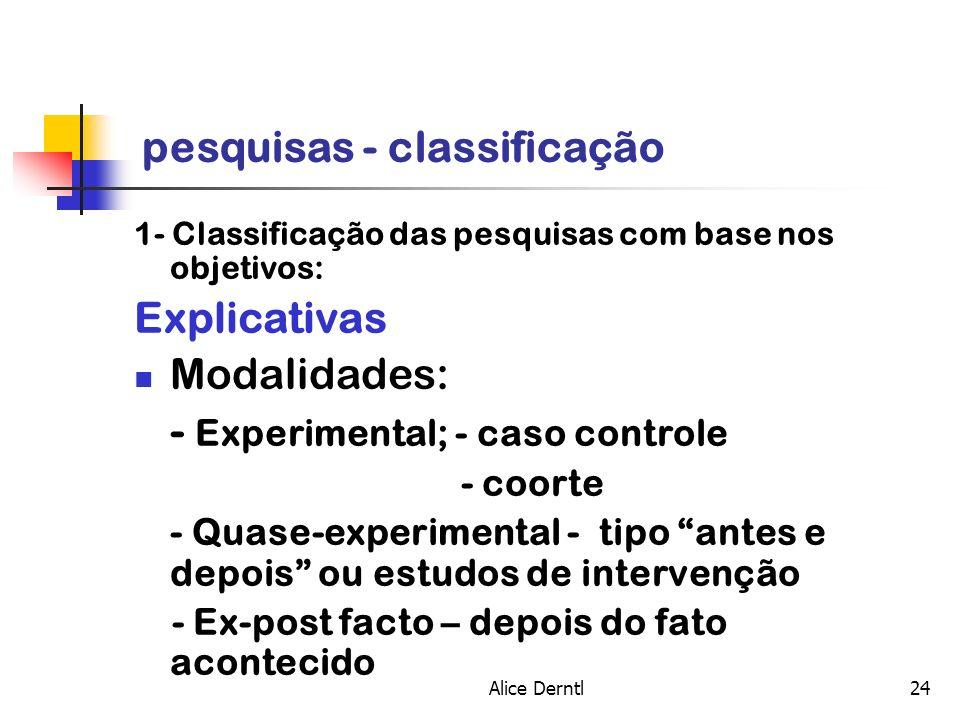 Alice Derntl24 pesquisas - classificação 1- Classificação das pesquisas com base nos objetivos: Explicativas Modalidades: - Experimental; - caso contr