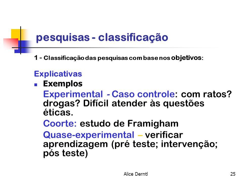 Alice Derntl25 pesquisas - classificação 1 - Classificação das pesquisas com base nos objetivos : Explicativas Exemplos Experimental - Caso controle: