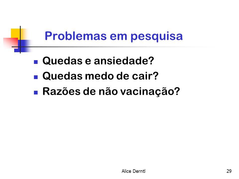 Alice Derntl29 Problemas em pesquisa Quedas e ansiedade? Quedas medo de cair? Razões de não vacinação?