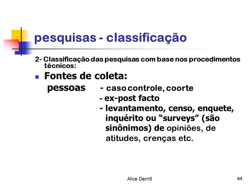 Alice Derntl44 pesquisas - classificação 2- Classificação das pesquisas com base nos procedimentos técnicos: Fontes de coleta: pessoas - caso controle