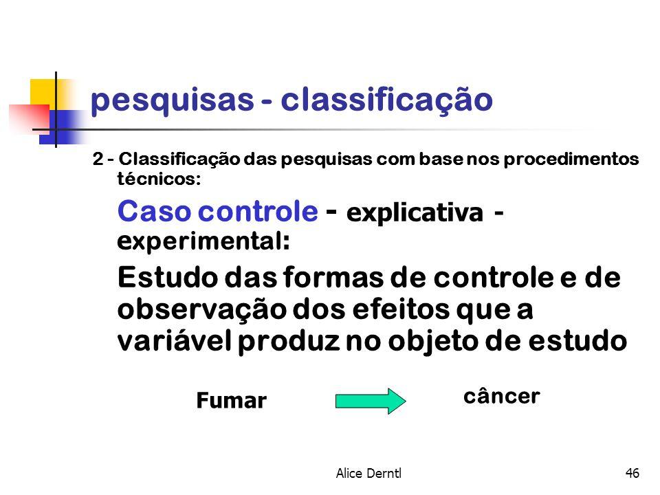 Alice Derntl46 pesquisas - classificação 2 - Classificação das pesquisas com base nos procedimentos técnicos: Caso controle - explicativa - e xperimen