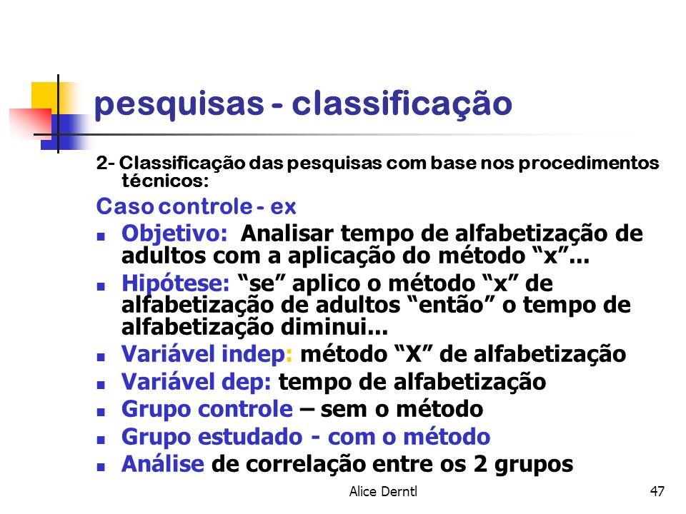 Alice Derntl47 pesquisas - classificação 2- Classificação das pesquisas com base nos procedimentos técnicos: Caso controle - ex Objetivo: Analisar tem