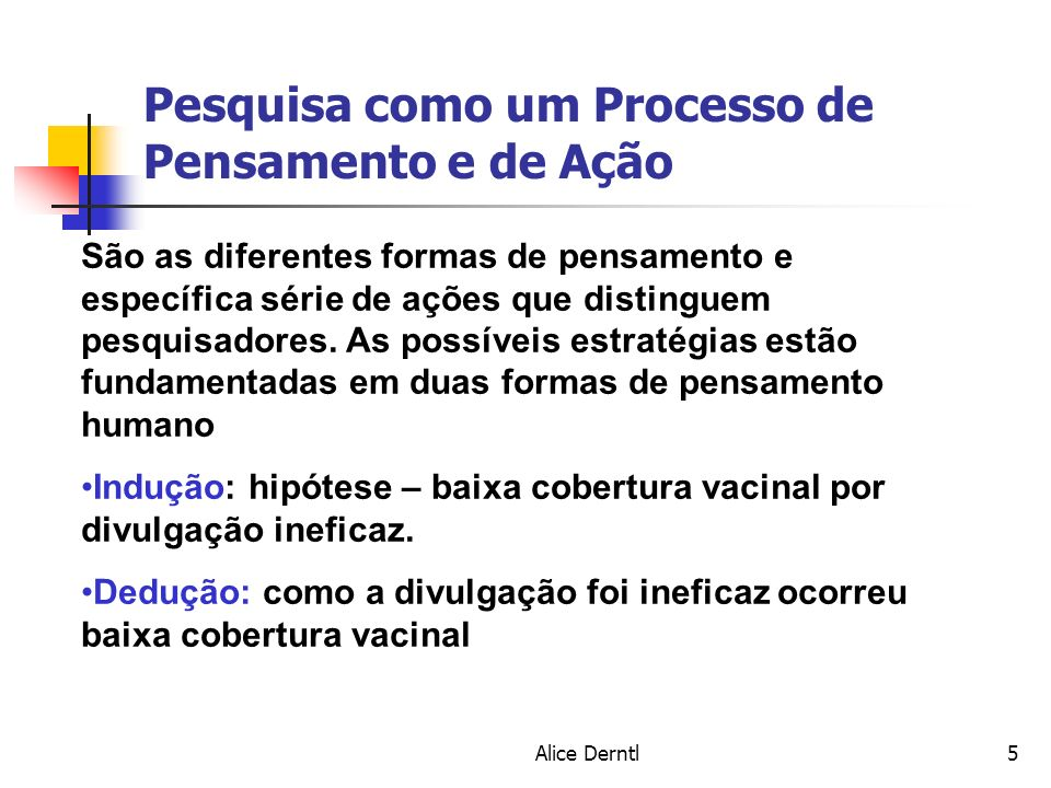 Alice Derntl6 Pesquisa como um Processo de Pensamento e de Ação 4 características básicas: 1.