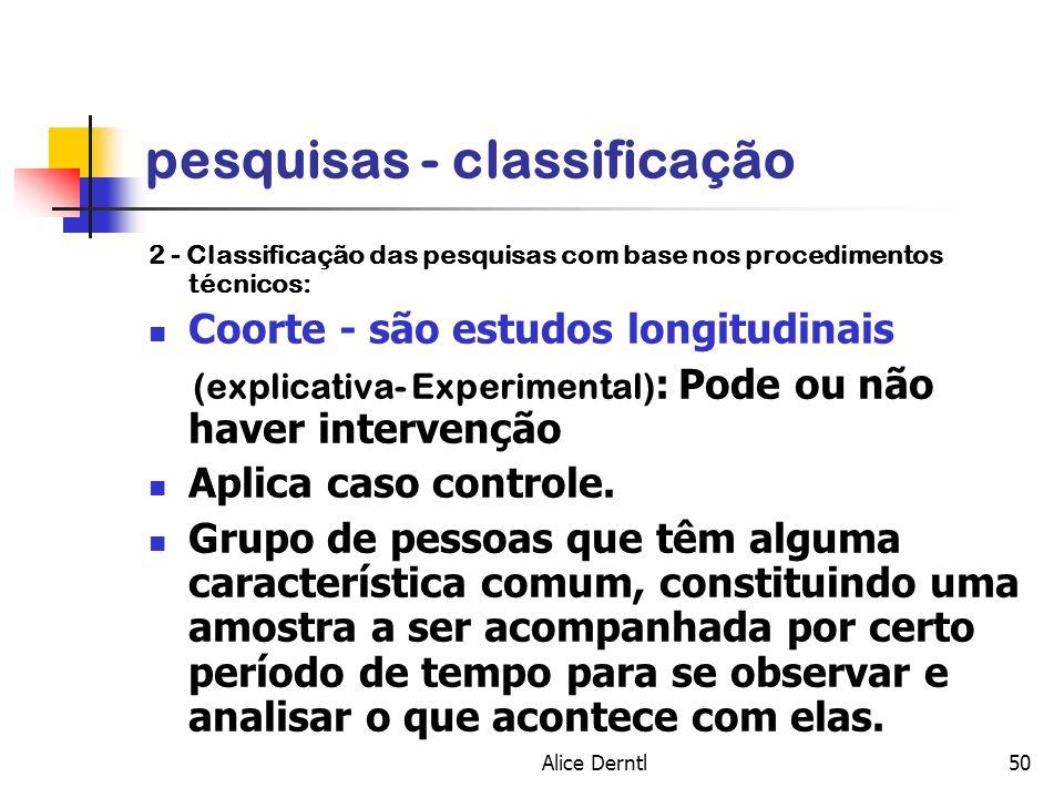 Alice Derntl50 pesquisas - classificação 2 - Classificação das pesquisas com base nos procedimentos técnicos: Coorte - são estudos longitudinais (expl
