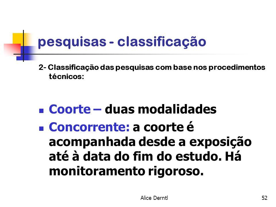 Alice Derntl52 pesquisas - classificação 2- Classificação das pesquisas com base nos procedimentos técnicos: Coorte – duas modalidades Concorrente: a