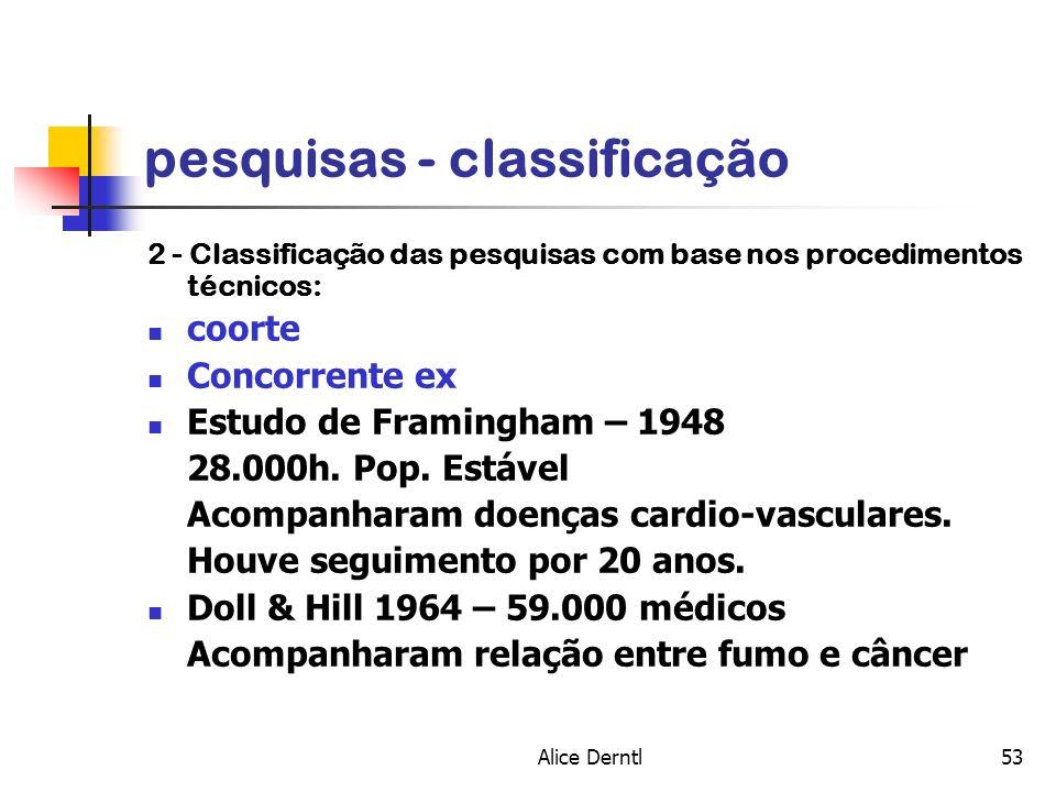 Alice Derntl53 pesquisas - classificação 2 - Classificação das pesquisas com base nos procedimentos técnicos: coorte Concorrente ex Estudo de Framingh