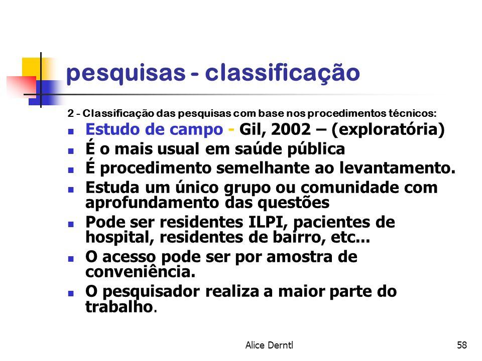 Alice Derntl58 pesquisas - classificação 2 - Classificação das pesquisas com base nos procedimentos técnicos: Estudo de campo - Gil, 2002 – (explorató