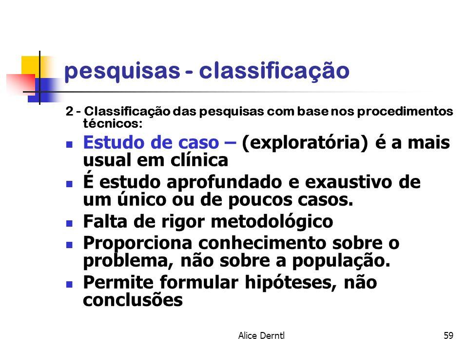 Alice Derntl59 pesquisas - classificação 2 - Classificação das pesquisas com base nos procedimentos técnicos: Estudo de caso – (exploratória) é a mais