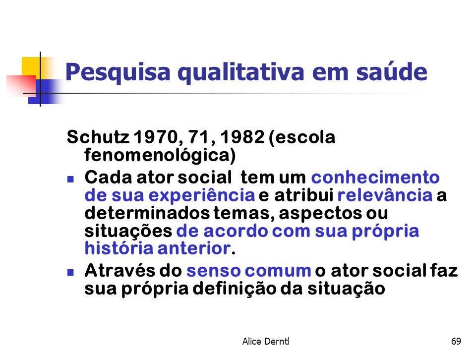 Alice Derntl69 Pesquisa qualitativa em saúde Schutz 1970, 71, 1982 (escola fenomenológica) Cada ator social tem um conhecimento de sua experiência e a