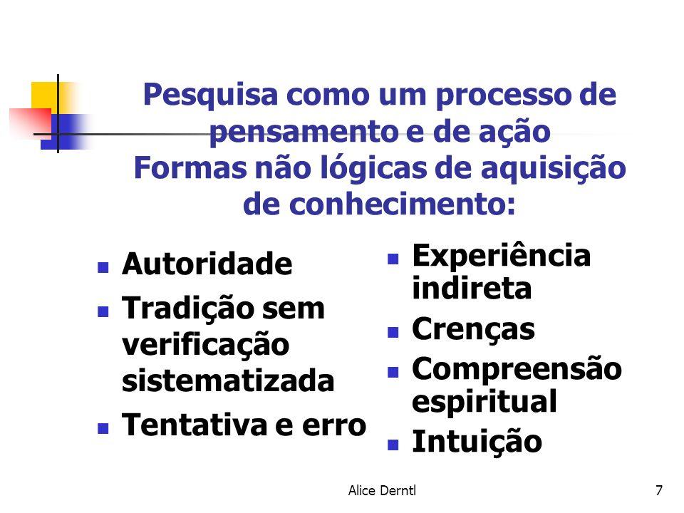 Alice Derntl7 Pesquisa como um processo de pensamento e de ação Formas não lógicas de aquisição de conhecimento: Autoridade Tradição sem verificação s