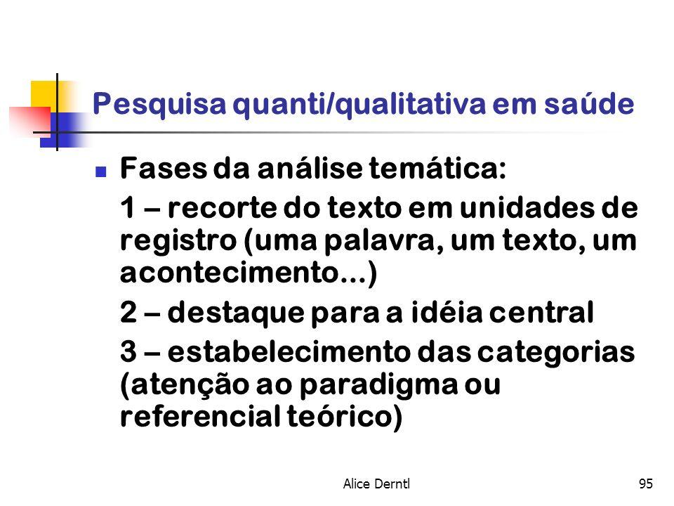 Alice Derntl95 Pesquisa quanti/qualitativa em saúde Fases da análise temática: 1 – recorte do texto em unidades de registro (uma palavra, um texto, um