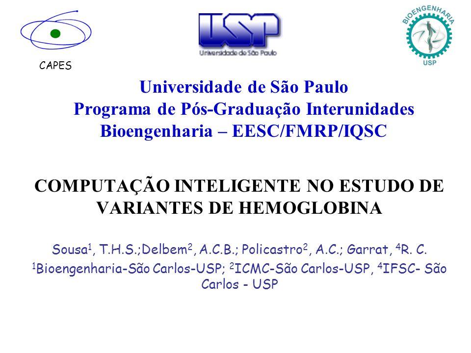 Universidade de São Paulo Programa de Pós-Graduação Interunidades Bioengenharia – EESC/FMRP/IQSC COMPUTAÇÃO INTELIGENTE NO ESTUDO DE VARIANTES DE HEMO