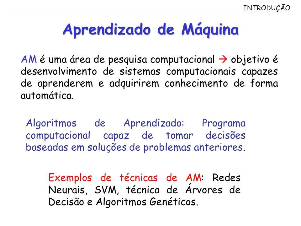 Aprendizado de Máquina AM é uma área de pesquisa computacional objetivo é desenvolvimento de sistemas computacionais capazes de aprenderem e adquirire