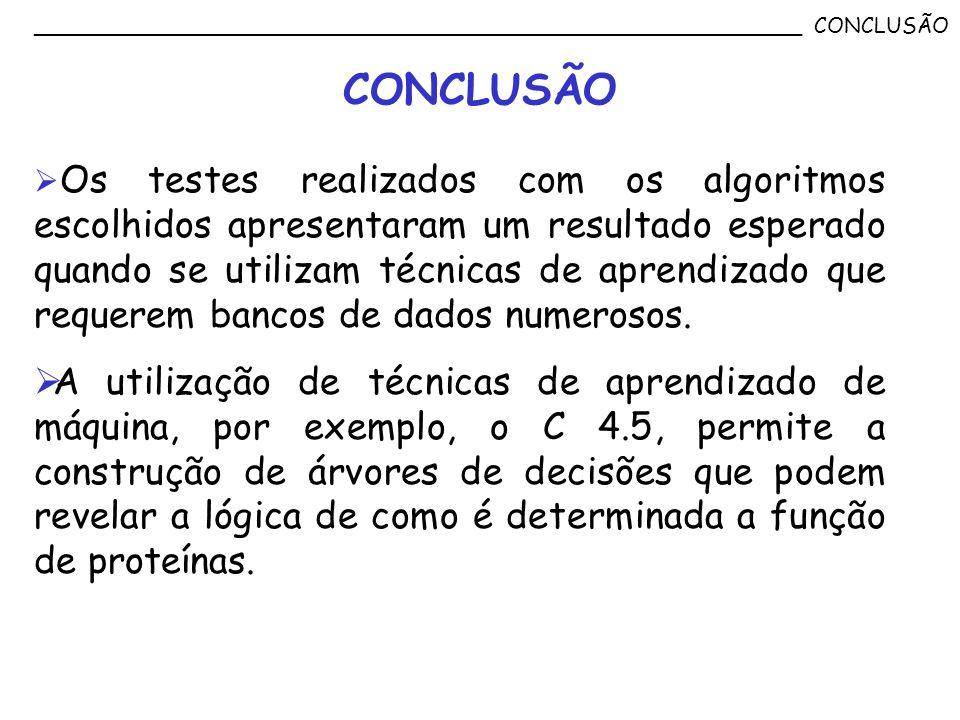 __________________________________________________________ CONCLUSÃO CONCLUSÃO Os testes realizados com os algoritmos escolhidos apresentaram um resul
