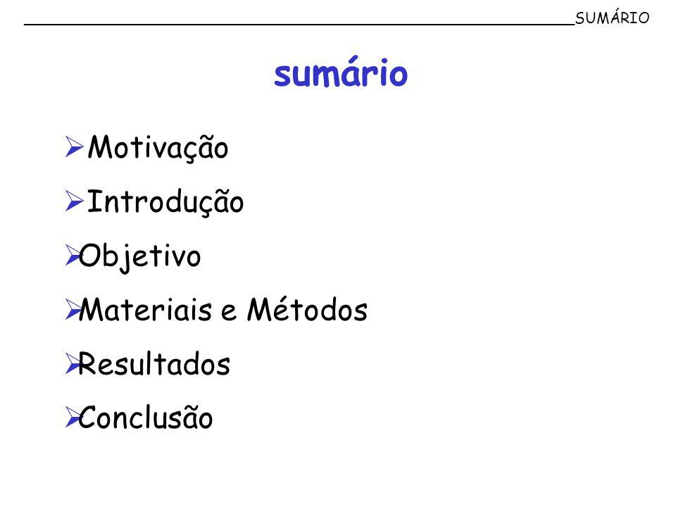 ___________________________________________________________SUMÁRIO sumário Motivação Introdução Objetivo Materiais e Métodos Resultados Conclusão