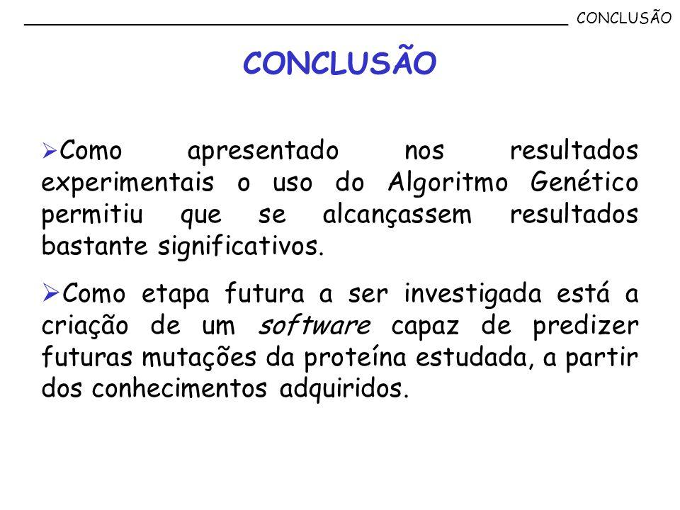 Como apresentado nos resultados experimentais o uso do Algoritmo Genético permitiu que se alcançassem resultados bastante significativos. Como etapa f