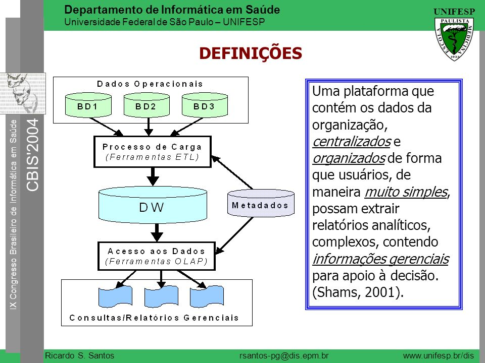 IX Congresso Brasileiro de Informática em Saúde CBIS'2004 UNIFESP Ricardo S. Santos Departamento de Informática em Saúde Universidade Federal de São P