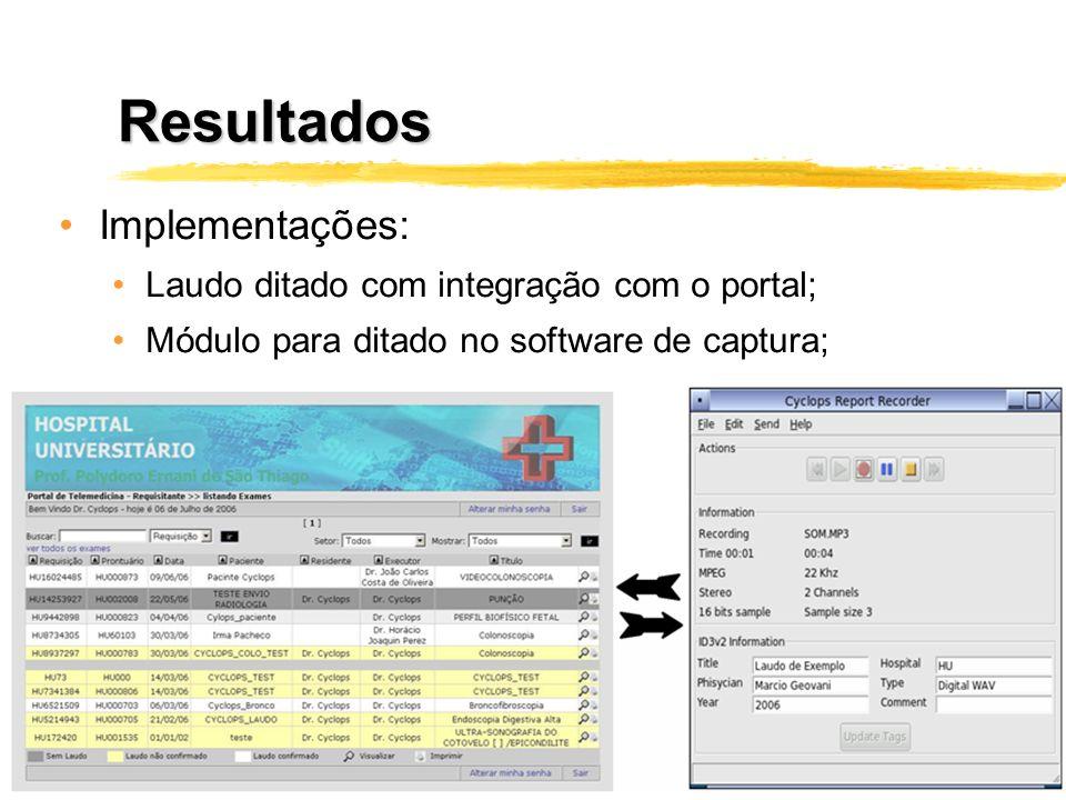 Resultados Implementações: Laudo ditado com integração com o portal; Módulo para ditado no software de captura;
