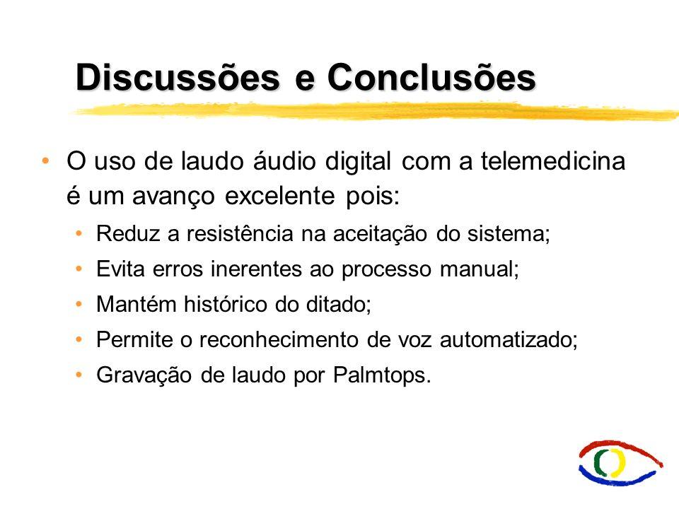 Discussões e Conclusões O uso de laudo áudio digital com a telemedicina é um avanço excelente pois: Reduz a resistência na aceitação do sistema; Evita