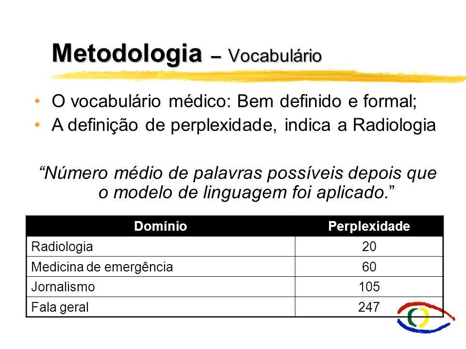 Metodologia – Vocabulário DomínioPerplexidade Radiologia20 Medicina de emergência60 Jornalismo105 Fala geral247 O vocabulário médico: Bem definido e f