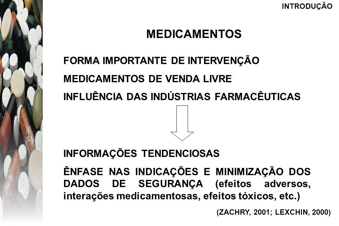 INTRODUÇÃO MEDICAMENTOS FORMA IMPORTANTE DE INTERVENÇÃO MEDICAMENTOS DE VENDA LIVRE INFLUÊNCIA DAS INDÚSTRIAS FARMACÊUTICAS INFORMAÇÕES TENDENCIOSAS Ê