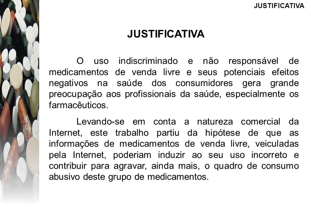 JUSTIFICATIVA O uso indiscriminado e não responsável de medicamentos de venda livre e seus potenciais efeitos negativos na saúde dos consumidores gera