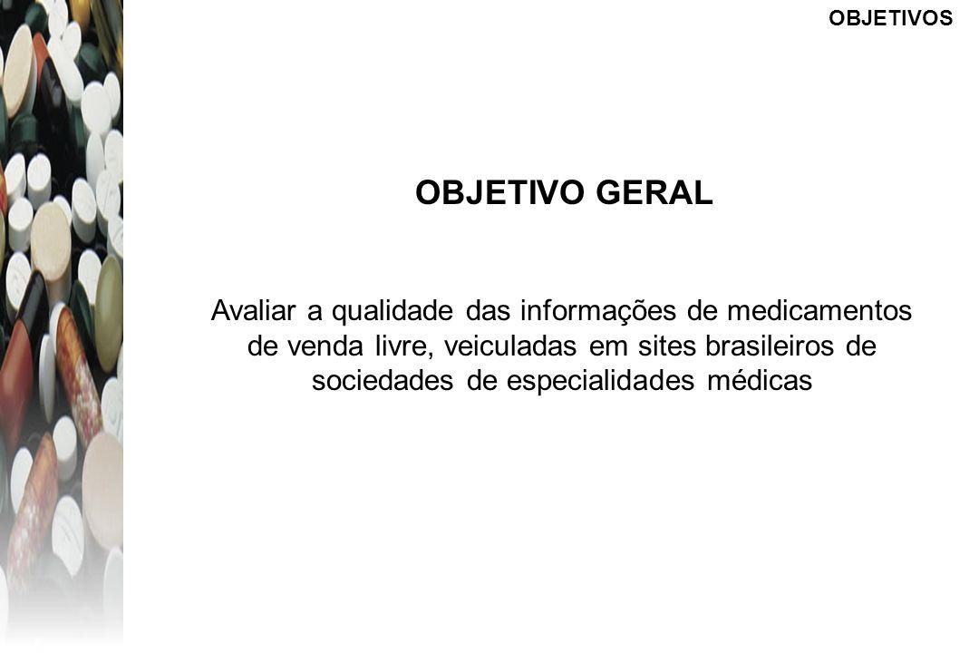 OBJETIVOS OBJETIVO GERAL Avaliar a qualidade das informações de medicamentos de venda livre, veiculadas em sites brasileiros de sociedades de especial