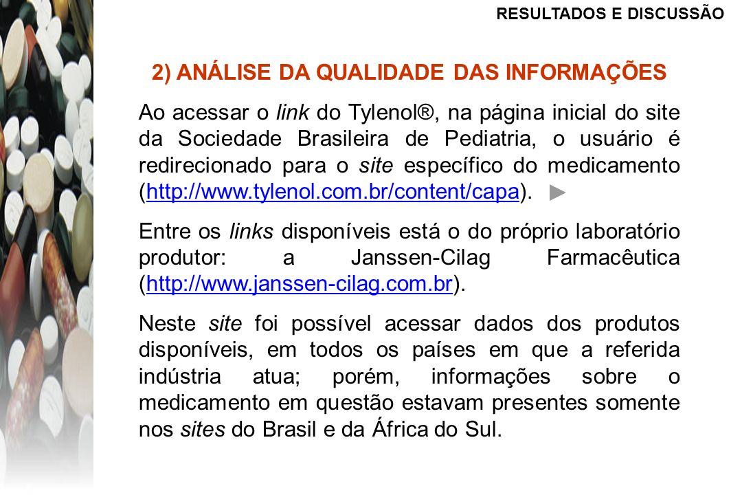 RESULTADOS E DISCUSSÃO 2) ANÁLISE DA QUALIDADE DAS INFORMAÇÕES Ao acessar o link do Tylenol®, na página inicial do site da Sociedade Brasileira de Ped