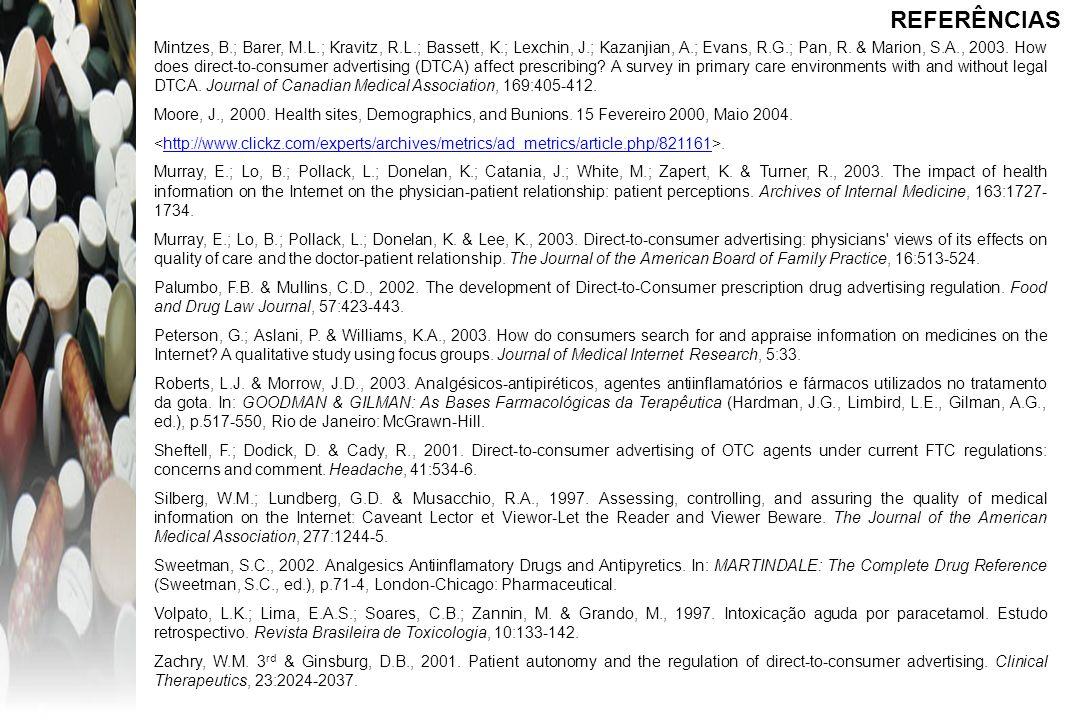 Mintzes, B.; Barer, M.L.; Kravitz, R.L.; Bassett, K.; Lexchin, J.; Kazanjian, A.; Evans, R.G.; Pan, R. & Marion, S.A., 2003. How does direct-to-consum