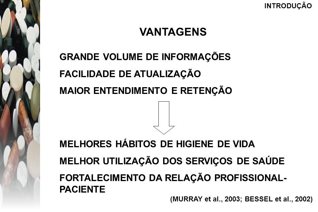 INTRODUÇÃO DESVANTAGENS QUALIDADE VARIÁVEL INTERPRETAÇÃO ERRÔNEA DIFÍCIL DISCERNIMENTO (CONFIÁVEL OU NÃO?) FALTA DE INSTRUMENTOS LEGAIS DE REGULAMENTAÇÃO CONTATO COM PROPAGANDAS (MURRAY et al., 2003; PETERSON et al., 2003; BESSEL et al., 2002)