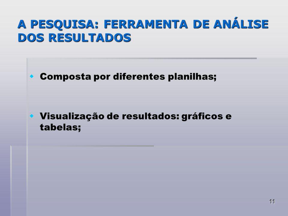 11 A PESQUISA: FERRAMENTA DE ANÁLISE DOS RESULTADOS Composta por diferentes planilhas; Visualização de resultados: gráficos e tabelas;