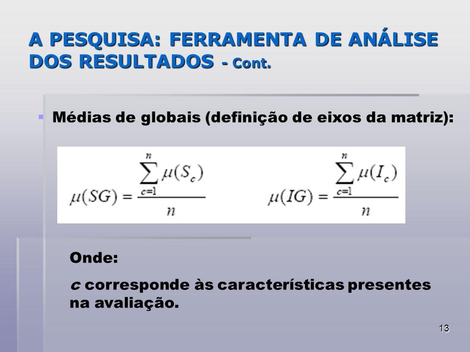 13 A PESQUISA: FERRAMENTA DE ANÁLISE DOS RESULTADOS - Cont. Médias de globais (definição de eixos da matriz): Onde: c corresponde às características p